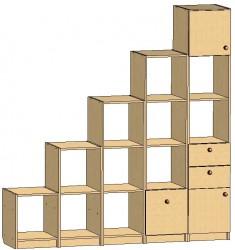 Стеллаж-горка (2 ниши + 2 дверки + 2 ящика)