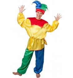 Карнавальный костюм для взрослых Петрушка (рубаха + штаны + колпак + веревочный поясок)