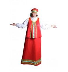 Карнавальный костюм для взрослых Масленица (юбка, блузка, жилет, головной убор — повойник)