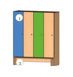 Шкаф четырехдверный со скамьей