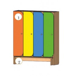 Шкаф четырехдверный со скамьей (двери оригинальной формы)