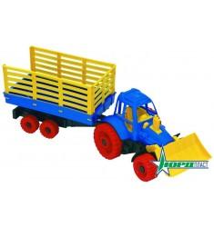Трактор с прицепом и грейдером