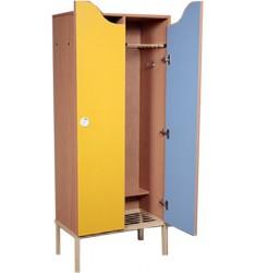 Шкаф для одежды двухместный цветной с металлическими решетками