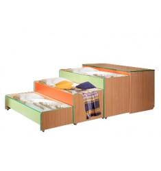 Кровать-тумба трехярусная цветная на металлическом каркасе с наматрацниками
