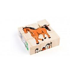 """Деревянные кубики-пазлы """"Домашние животные"""""""