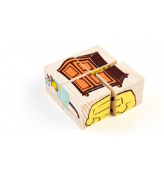 "Деревянные кубики-пазлы ""Мебель"""