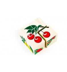 """Деревянные кубики-пазлы """"Фрукты-ягоды"""""""